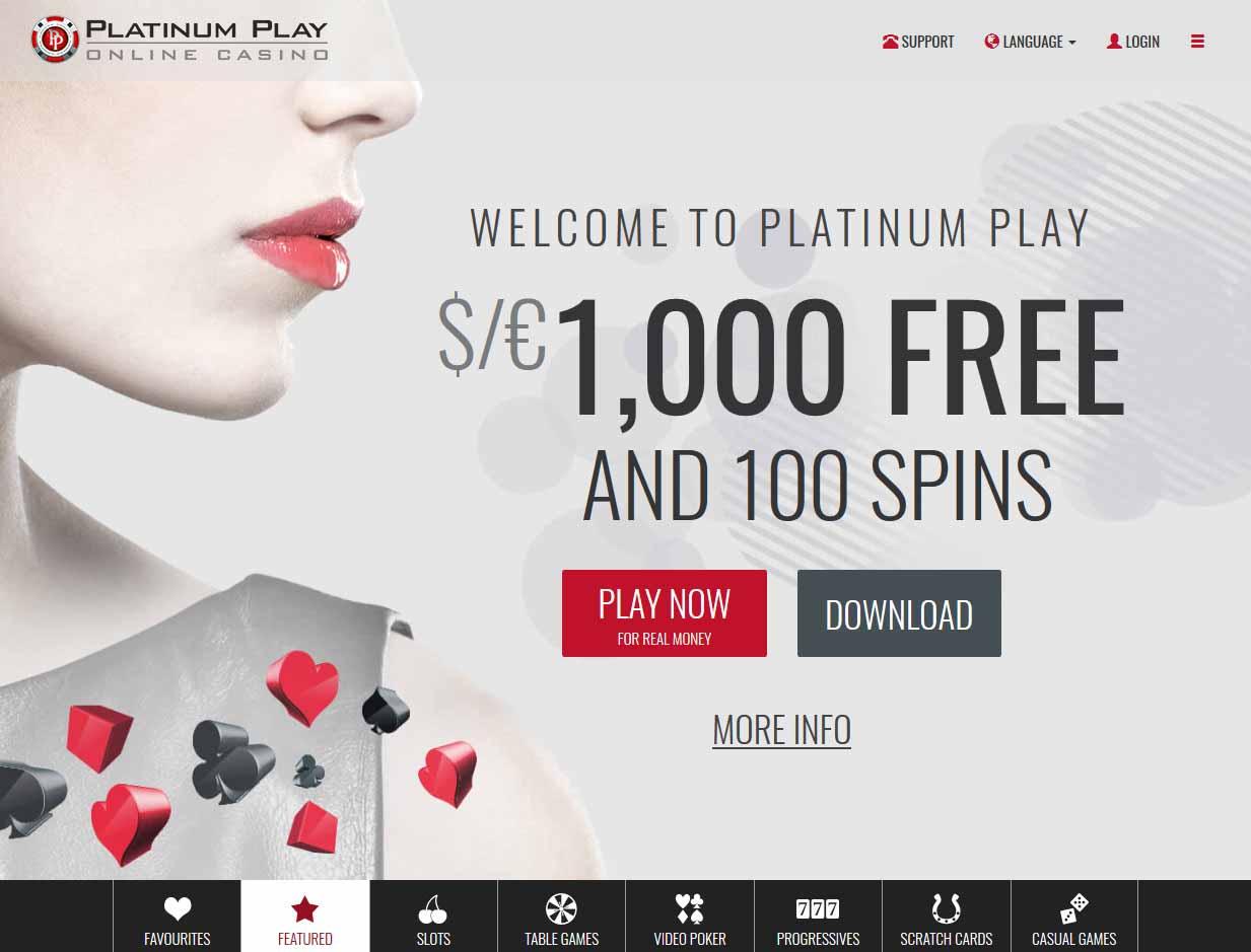 platinum play casino bonus